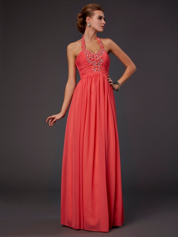 A-Line/Princess Halter Chiffon Sleeveless Floor-Length Dresses