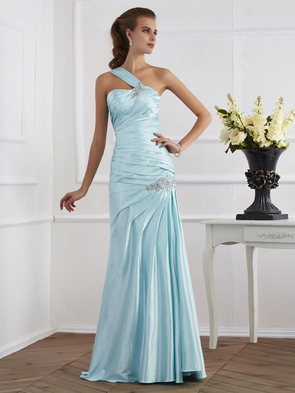 Trumpet/Mermaid One-Shoulder Elastic Woven Satin Sleeveless Floor-Length Dresses