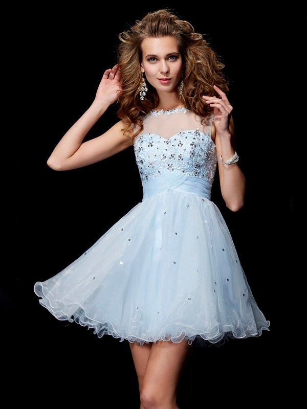 A-Line/Princess Scoop Elastic Woven Satin,Net,Tulle Sleeveless Short/Mini Dresses