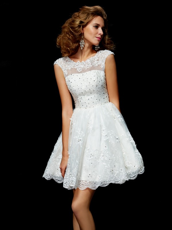 A-Line/Princess V-neck Organza Short Sleeves Short/Mini Dresses