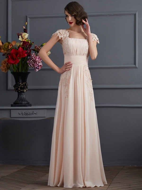 A-Line/Princess Square Chiffon Short Sleeves Floor-Length Dresses