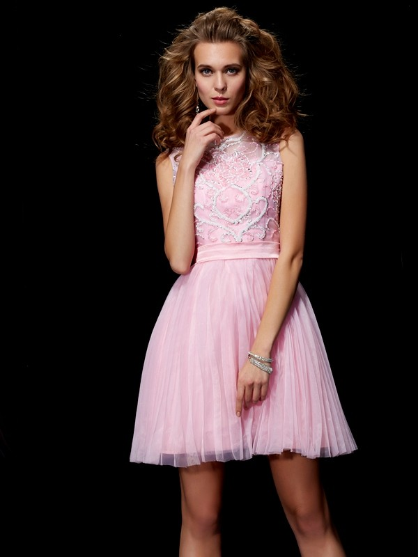 A-Line/Princess Scoop Elastic Woven Satin,Net Sleeveless Short/Mini Dresses
