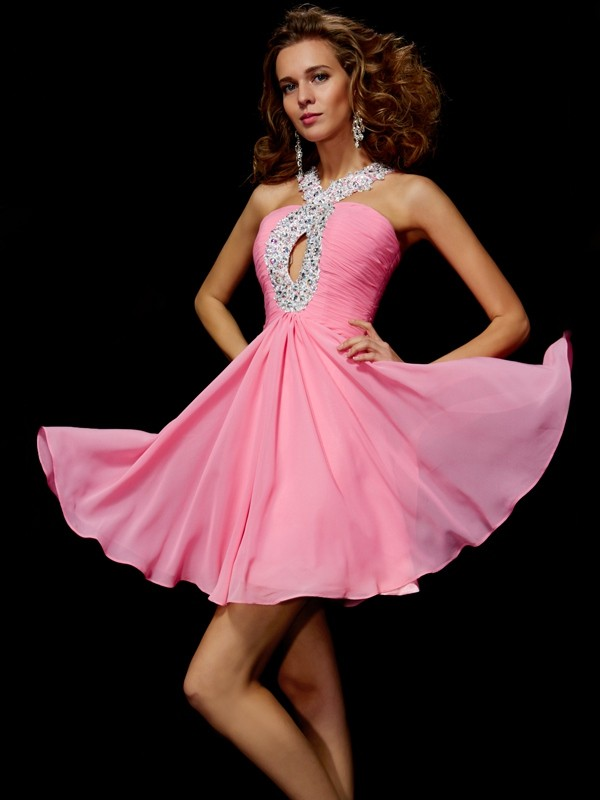 A-Line/Princess V-neck Chiffon Sleeveless Short/Mini Dresses
