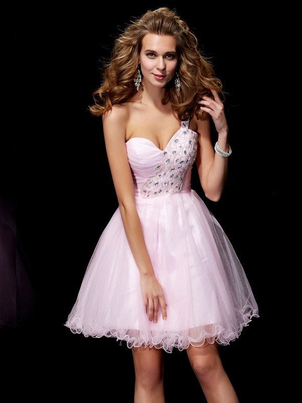 A-Line/Princess One-Shoulder Elastic Woven Satin,Net Sleeveless Short/Mini Dresses