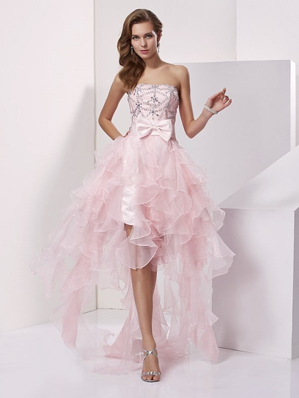 A-Line/Princess Strapless Organza Sleeveless Asymmetrical Dresses