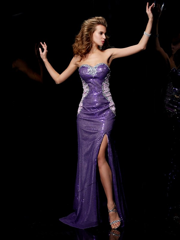 Sheath/Column Sweetheart Elastic Woven Satin,Lace,Sequins Sleeveless Sweep/Brush Train Dresses