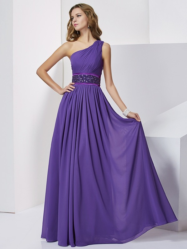 Empire One-Shoulder Chiffon Sleeveless Floor-Length Dresses