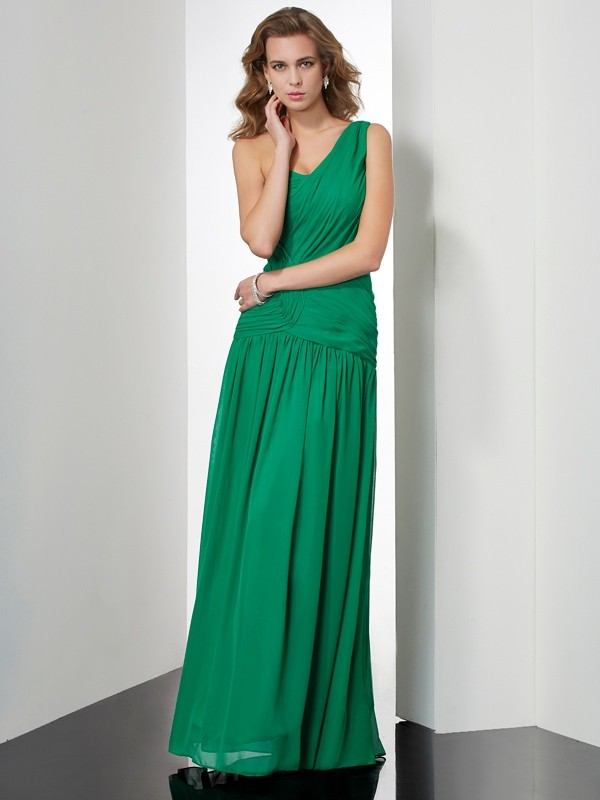 A-Line/Princess One-Shoulder Chiffon Sleeveless Floor-Length Dresses