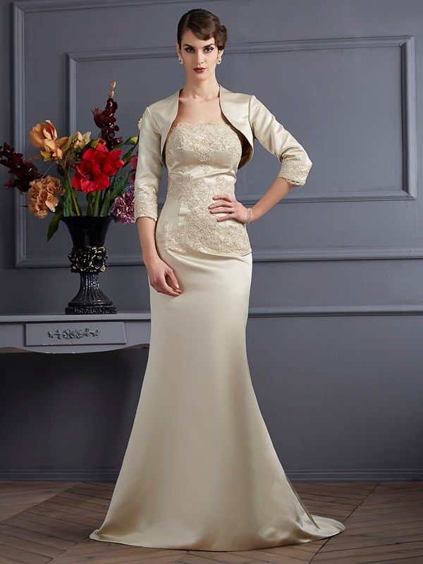 Trumpet/Mermaid Strapless Satin Sleeveless Sweep/Brush Train Mother of the Bride Dresses