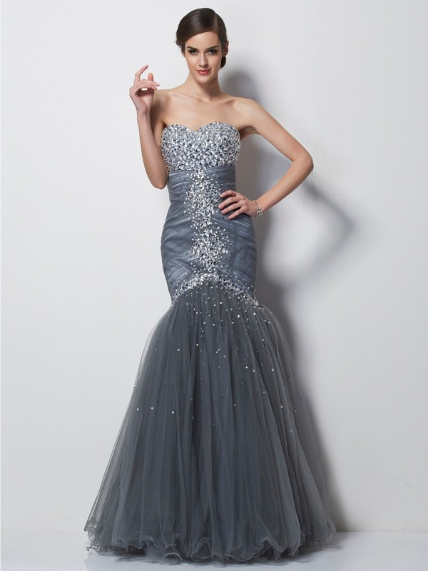 Trumpet/Mermaid Sweetheart Net,Satin Sleeveless Floor-Length Dresses