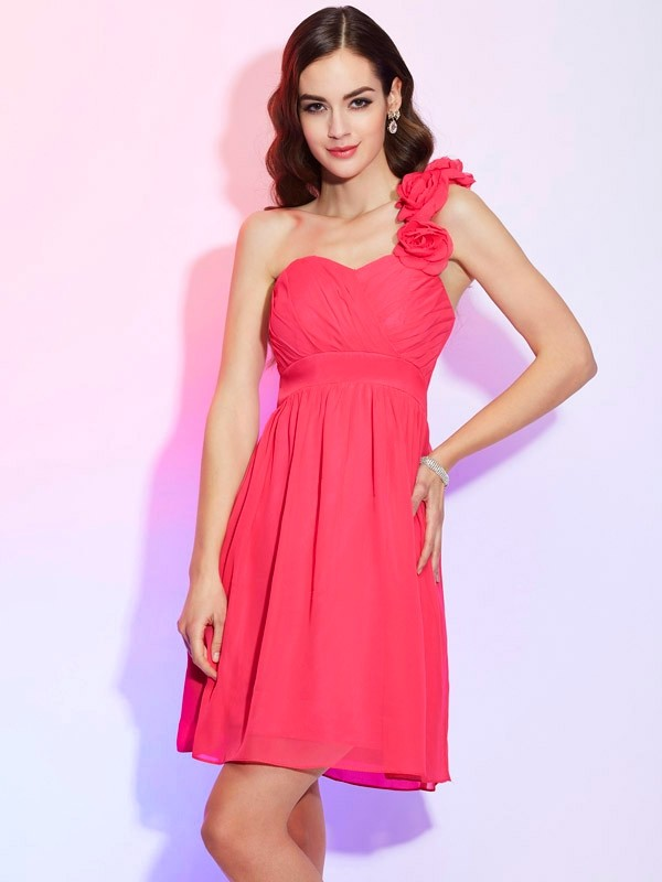 A-Line/Princess One-Shoulder Chiffon Sleeveless Knee-Length Dresses