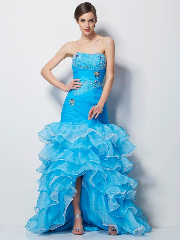 Trumpet/Mermaid Sweetheart Tulle Sleeveless Asymmetrical Dresses