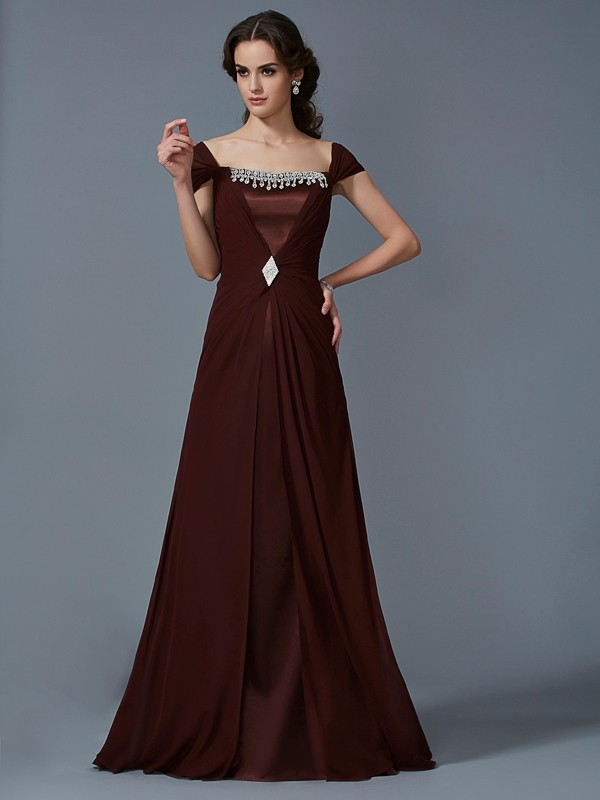 A-Line/Princess Strapless Chiffon,Taffeta Short Sleeves Floor-Length Dresses