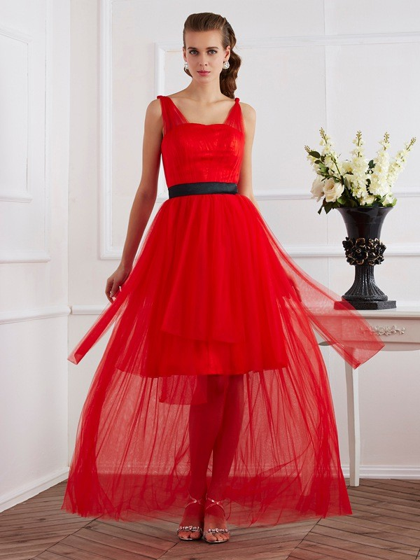 A-Line/Princess Straps Elastic Woven Satin Sleeveless Ankle-Length Dresses