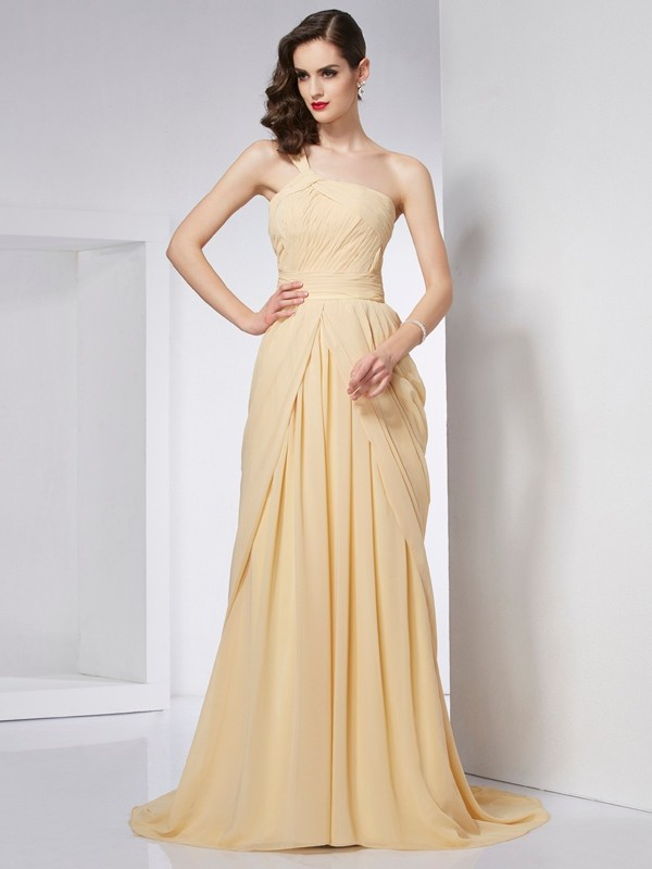 A-Line/Princess One-Shoulder Chiffon Sleeveless Chapel Train Dresses