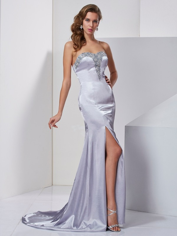 A-Line/Princess Sweetheart Elastic Woven Satin Sleeveless Sweep/Brush Train Dresses