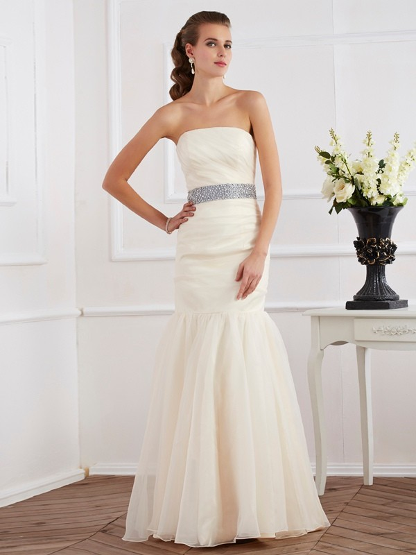 Trumpet/Mermaid Strapless Organza Sleeveless Floor-Length Dresses
