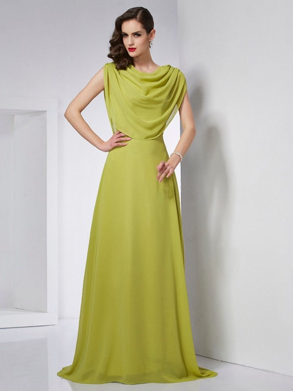 A-Line/Princess High Neck Chiffon Sleeveless Sweep/Brush Train Dresses