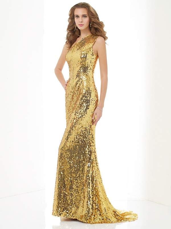 Sheath/Column One-Shoulder Lace,Sequins Sleeveless Sweep/Brush Train Dresses