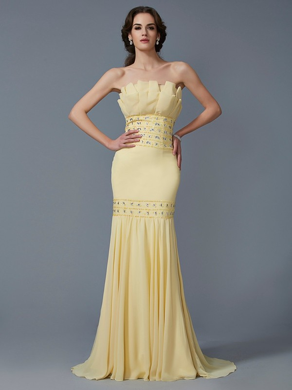 Trumpet/Mermaid Strapless Chiffon Sleeveless Sweep/Brush Train Dresses
