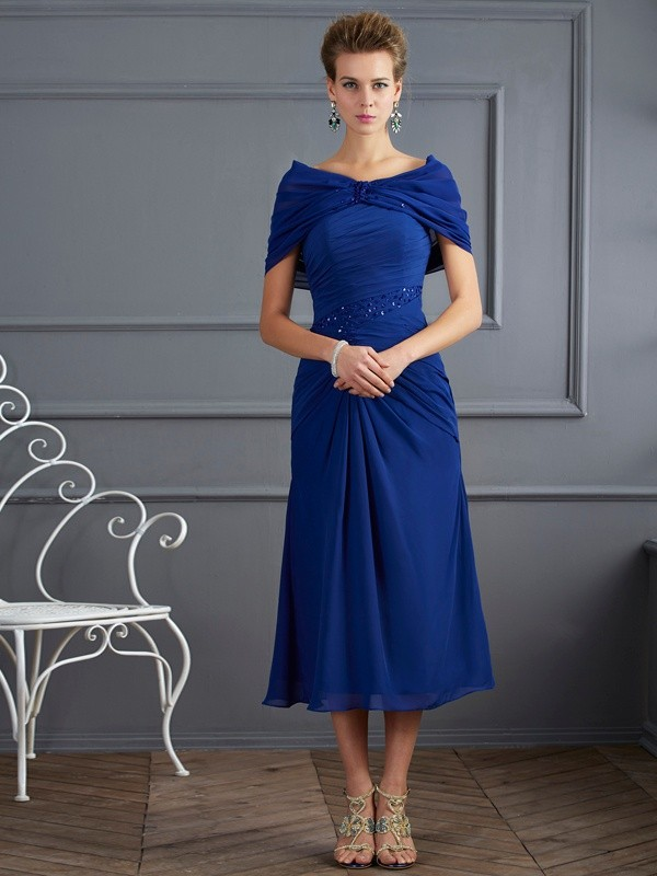 Sheath/Column Scoop Chiffon Short Sleeves Short/Mini Mother of the Bride Dresses