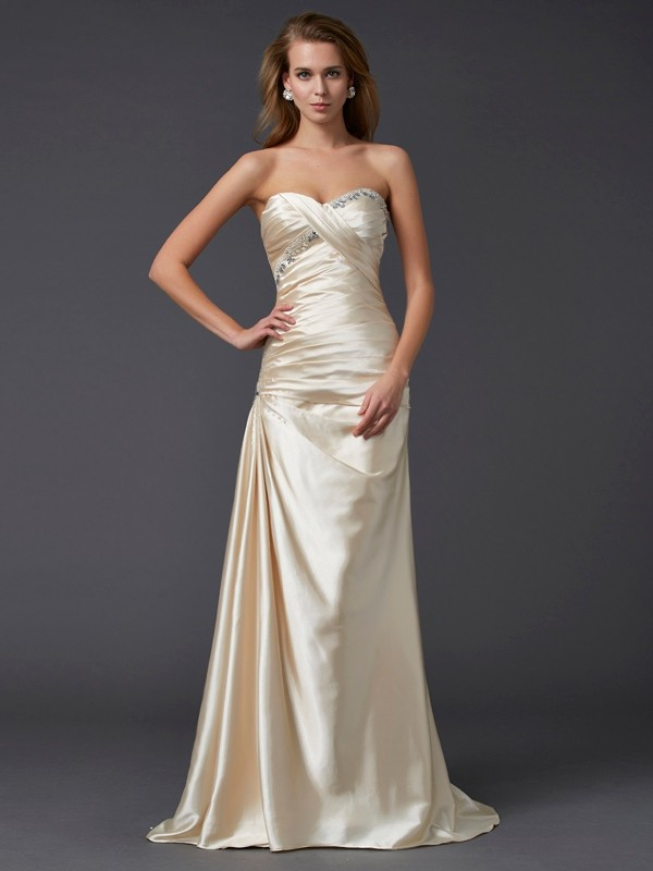 Sheath/Column Sweetheart Elastic Woven Satin Sleeveless Sweep/Brush Train Dresses