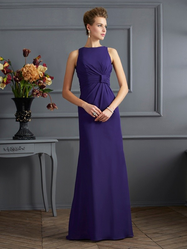 Sheath/Column Bateau Chiffon Sleeveless Floor-Length Dresses