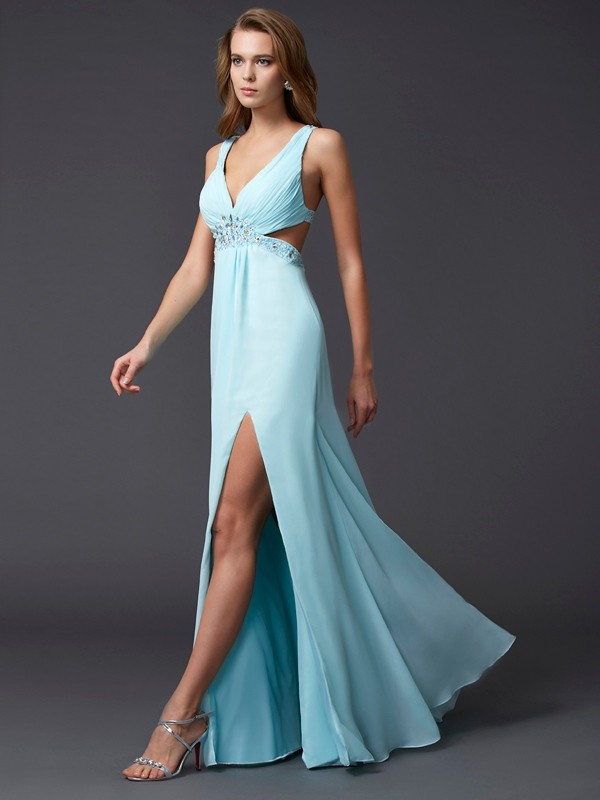 Sheath/Column V-neck Chiffon Sleeveless Floor-Length Dresses