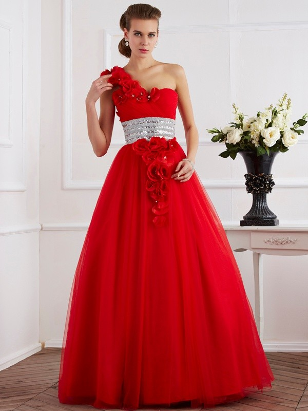 Ball Gown One-Shoulder Net Sleeveless Floor-Length Dresses