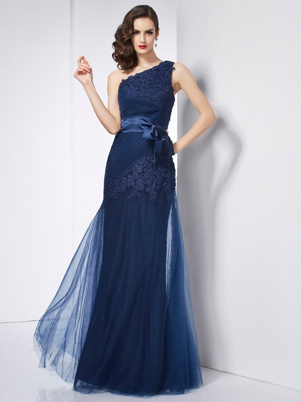 A-Line/Princess One-Shoulder Net,Organza,Satin Sleeveless Floor-Length Dresses