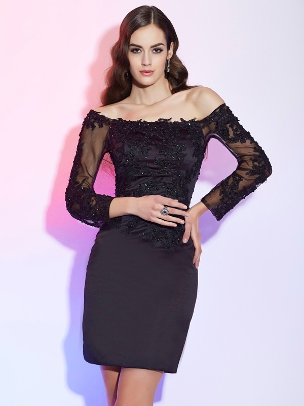 Sheath/Column Off the Shoulder Satin,Lace Long Sleeves Short/Mini Mother of the Bride Dresses