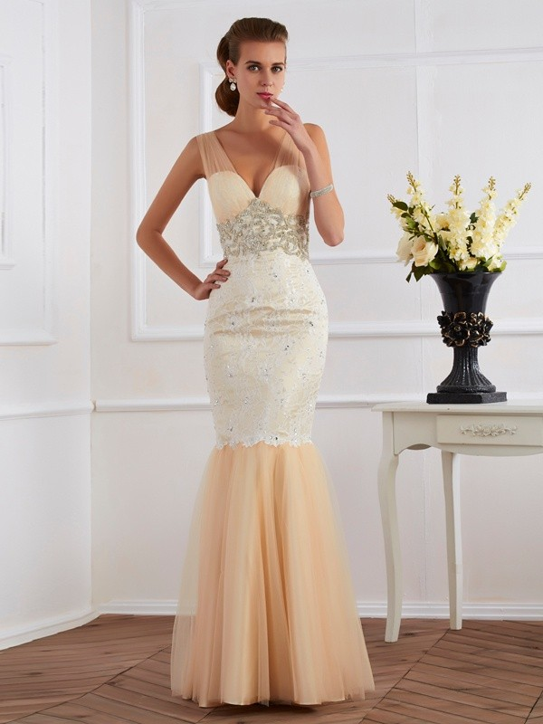 Trumpet/Mermaid Straps Net,Lace Sleeveless Floor-Length Dresses