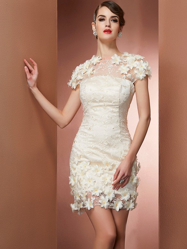Sheath/Column High Neck Satin,Lace Short Sleeves Short/Mini Dresses