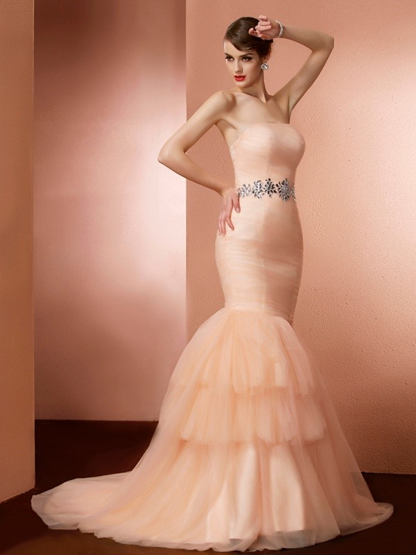 Trumpet/Mermaid Strapless Net Sleeveless Sweep/Brush Train Dresses