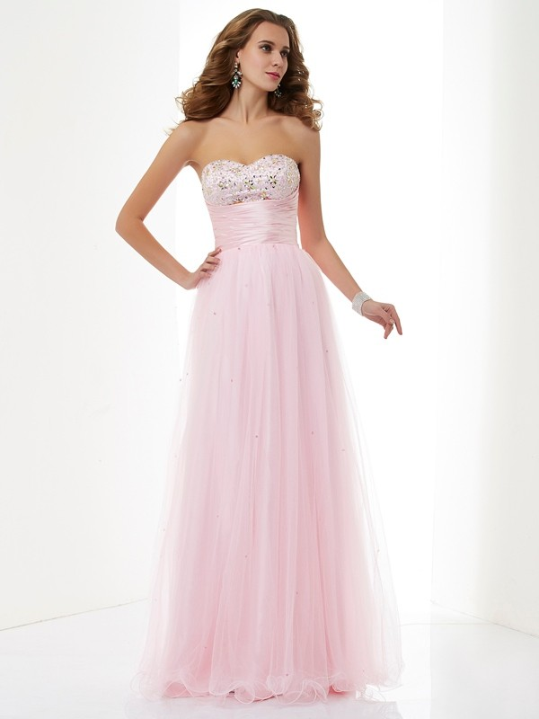 A-Line/Princess Sweetheart Elastic Woven Satin,Net Sleeveless Floor-Length Dresses