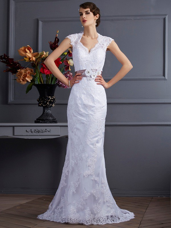 Trumpet/Mermaid Satin Sleeveless Sweep/Brush Train Wedding Dresses
