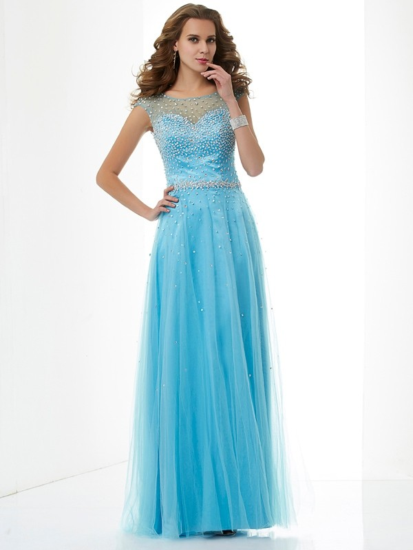 Sheath/Column High Neck Net Sleeveless Floor-Length Dresses