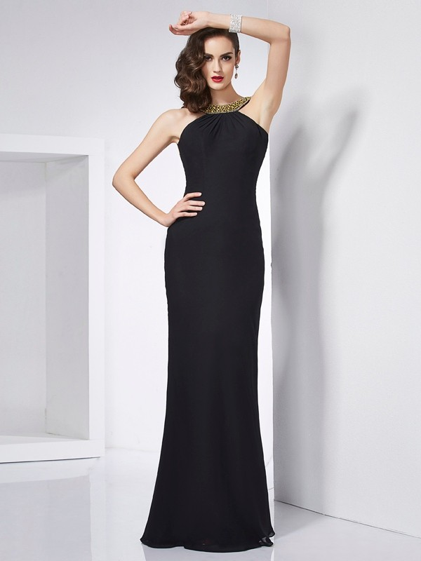 Trumpet/Mermaid Jewel Chiffon Sleeveless Floor-Length Dresses