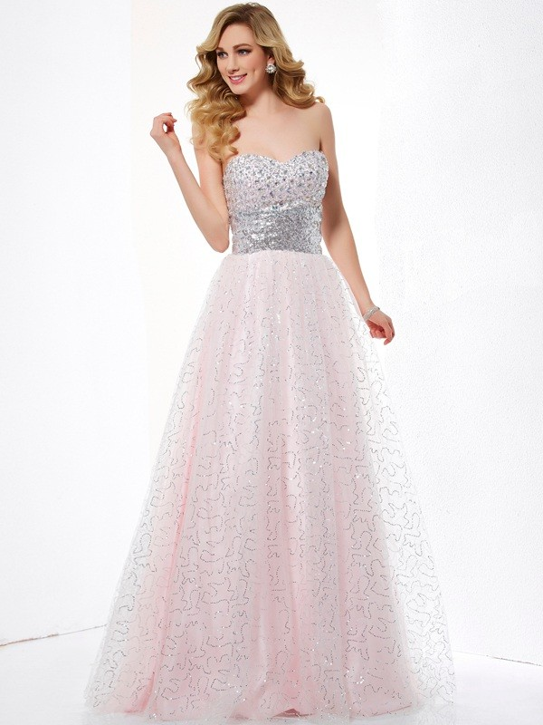 Ball Gown Sweetheart Net,Satin Sleeveless Floor-Length Dresses