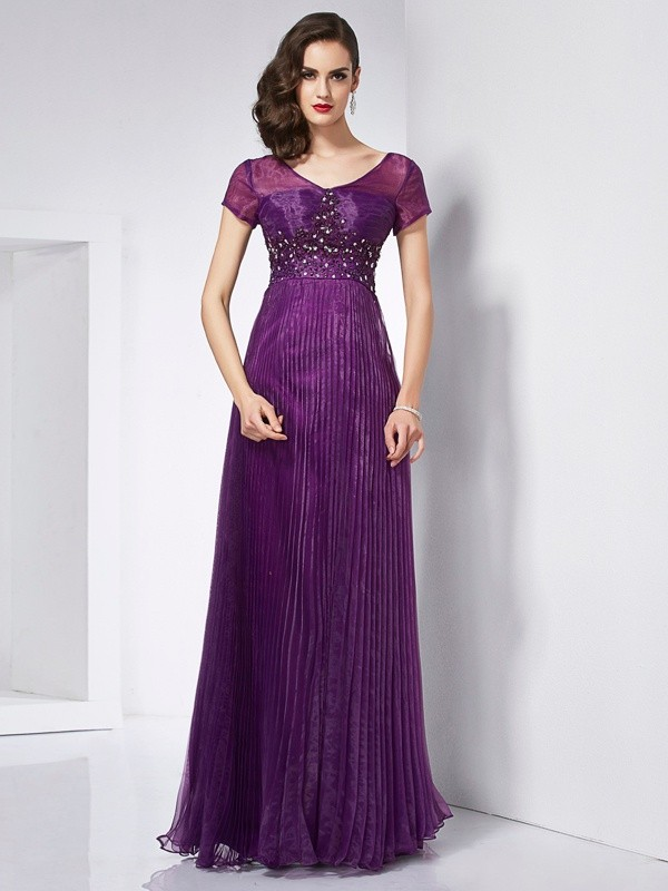 A-Line/Princess V-neck Organza Short Sleeves Floor-Length Dresses