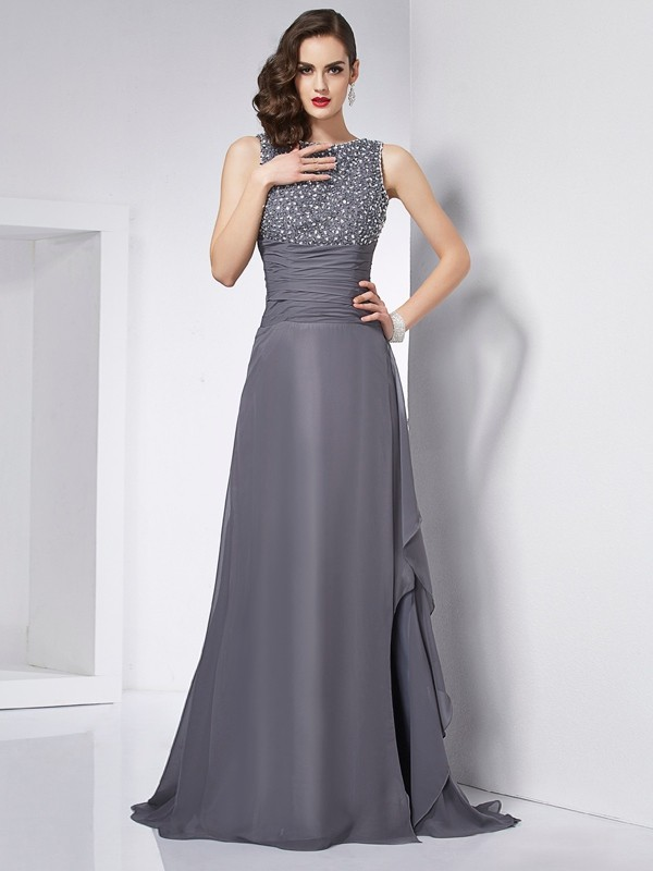 A-Line/Princess Jewel Chiffon Sleeveless Sweep/Brush Train Dresses