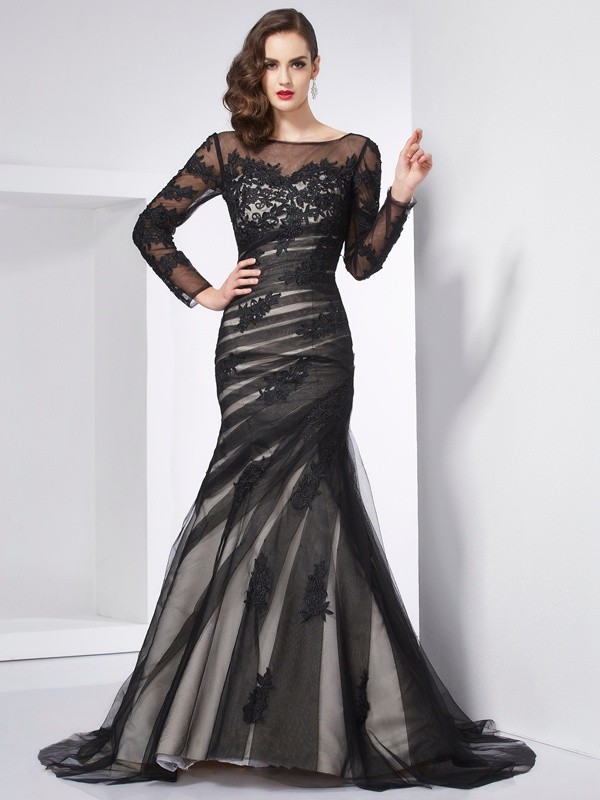Trumpet/Mermaid Jewel Net,Satin Long Sleeves Sweep/Brush Train Dresses