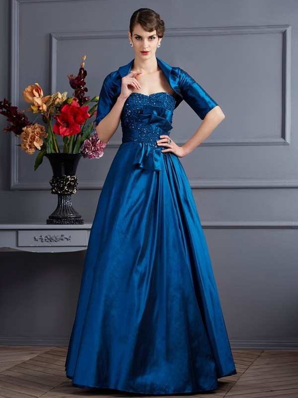A-Line/Princess Sweetheart Taffeta Sleeveless Floor-Length Dresses