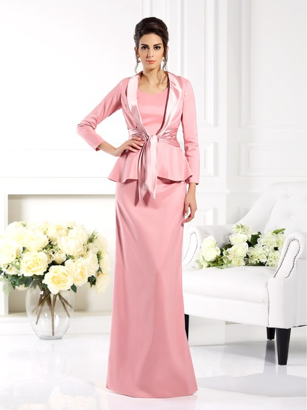Sheath/Column Square Elastic Woven Satin Sleeveless Floor-Length Mother of the Bride Dresses