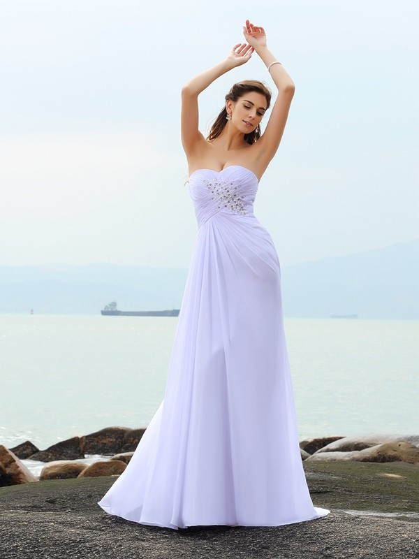 Sheath/Column Sweetheart Chiffon Sleeveless Chapel Train Wedding Dresses