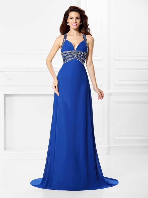 A-Line/Princess V-neck,Straps Chiffon Sleeveless Sweep/Brush Train Prom Dresses