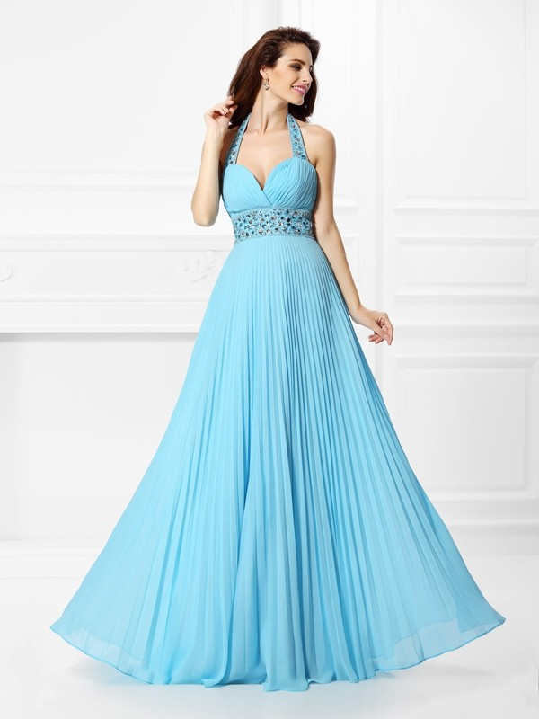 A-Line/Princess Halter Chiffon Sleeveless Floor-Length Prom Dresses