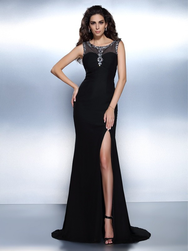 Trumpet/Mermaid Bateau Chiffon Sleeveless Sweep/Brush Train Evening Dresses