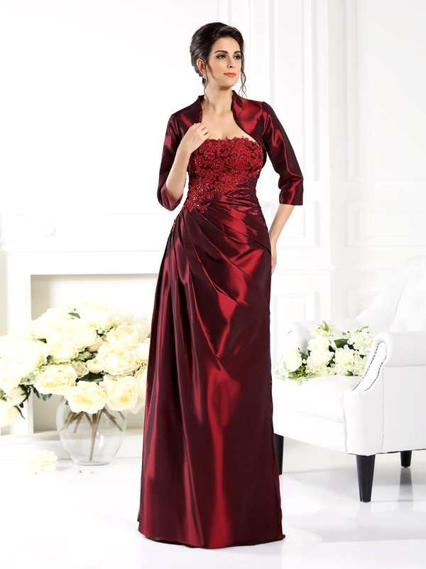 A-Line/Princess Strapless Taffeta 1/2 Sleeves Floor-Length Mother of the Bride Dresses