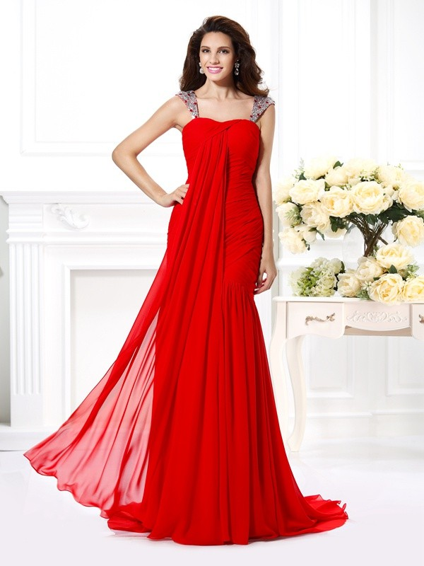Trumpet/Mermaid Straps Chiffon Sleeveless Sweep/Brush Train Evening Dresses